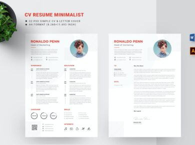 CV Resume & Cover Letter Template Free Download